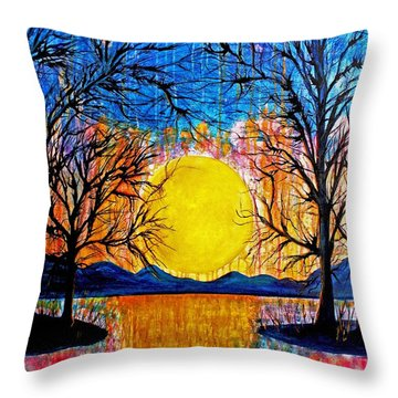 Raining Sunset Throw Pillow