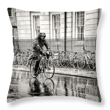 Rainy Day Ride Throw Pillow by William Beuther