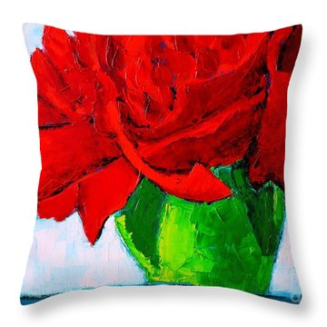 Red Carnation Throw Pillow by Ana Maria Edulescu