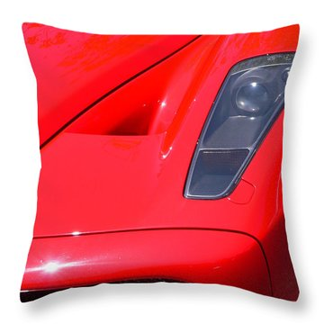 Throw Pillow featuring the photograph Red Ferrari by Jeff Lowe