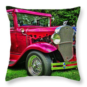 Red Ford Coupe Throw Pillow by Ron Roberts