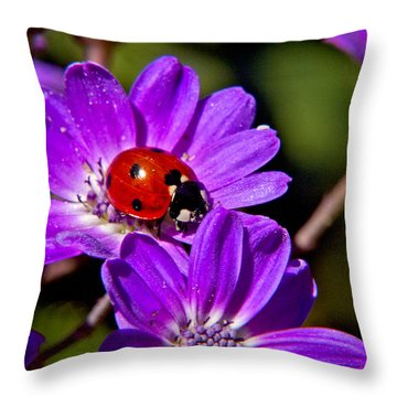 Red Lady In Lavender Throw Pillow