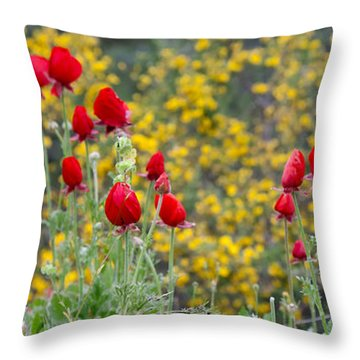 Throw Pillow featuring the photograph Red On Yellow by Uri Baruch