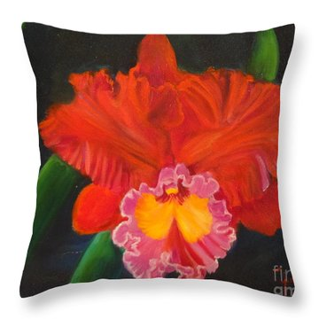 Throw Pillow featuring the painting Red Orchid by Jenny Lee