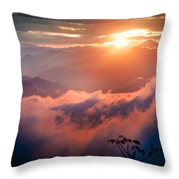 Red Sunset Himalayas Mountain Nepal Throw Pillow