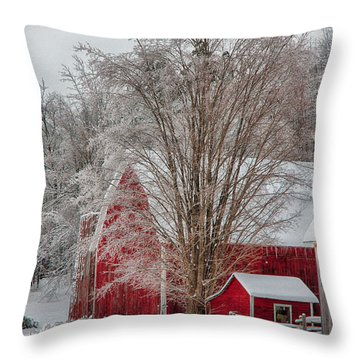 Red Vermont Barn Throw Pillow