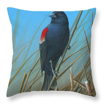 Throw Pillow featuring the painting Red-winged Black Bird by Mike Brown