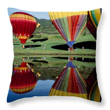 Reflection Of Hot Air Balloons Throw Pillow