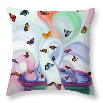 Releasing Butterflies Throw Pillow by Jeanette Sthamann