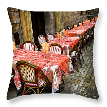Restaurant Patio In France Throw Pillow by Elena Elisseeva