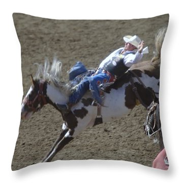 Ride Em Cowboy Throw Pillow by Jeff Swan