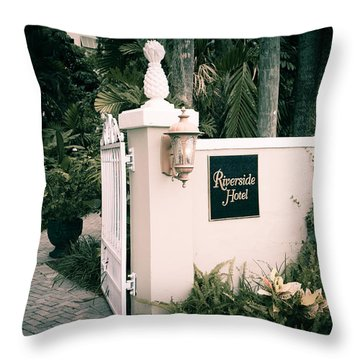 Riverside Hotel Throw Pillow