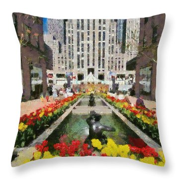 Rockefeller Plaza Throw Pillow