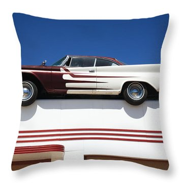 Route 66 - Desoto's Salon Throw Pillow by Frank Romeo