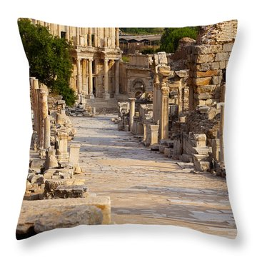 Throw Pillow featuring the photograph Ruins Of Ephesus by Brian Jannsen