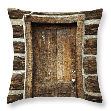Rustic Cabin Door Throw Pillow by John Stephens