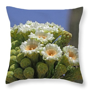 Saguaro Flower And Buds  Throw Pillow by Tom Janca