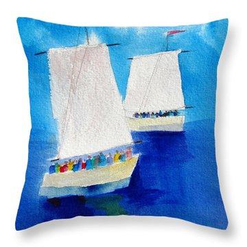 2 Sailboats Throw Pillow by Carlin Blahnik