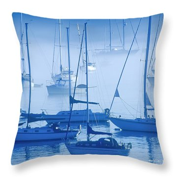 Sailboats In The Fog - Maine Throw Pillow