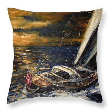 Sailing Throw Pillow by Arturas Slapsys