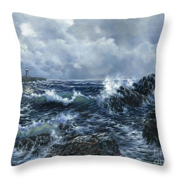 Throw Pillow featuring the painting Sailor's Light by Lynne Wright