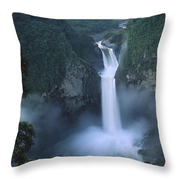 San Rafael Falls On The Quijos River Throw Pillow by Pete Oxford