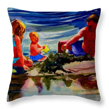 Sandcastles With Daddy Throw Pillow by Julianne Felton