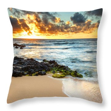 Sandy Beach Sunrise 7 Throw Pillow by Leigh Anne Meeks