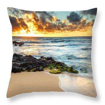 Sandy Beach Sunrise 7 Throw Pillow
