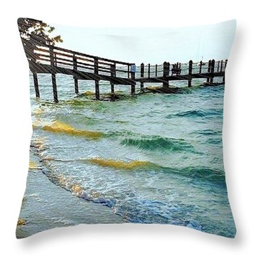 Throw Pillow featuring the photograph Sanibel At Sunset by Janette Boyd