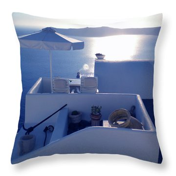 Santorini Island Greece Throw Pillow by Colette V Hera  Guggenheim
