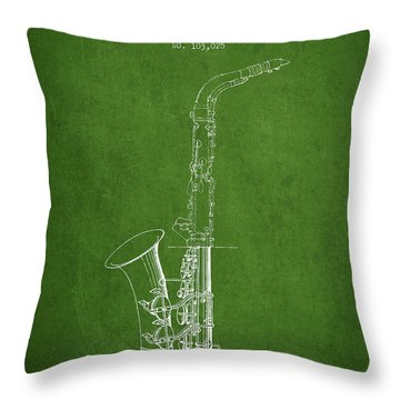 Saxophone Patent Drawing From 1937 - Green Throw Pillow by Aged Pixel