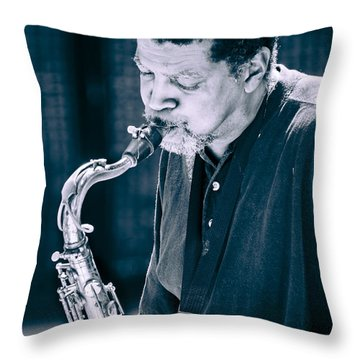 Saxophone Player 2 Throw Pillow by Carolyn Marshall