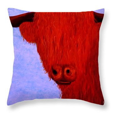 Scottish Highlands Cow Throw Pillow by Tim Townsend