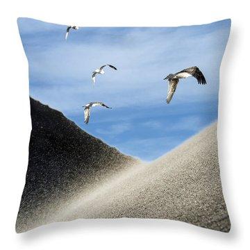 Seagulls Throw Pillow by Michael Mogensen