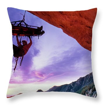 Search And Rescue Climber Hanging Throw Pillow