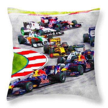 Sebastian Vettel Leads The Pack Throw Pillow