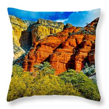 Throw Pillow featuring the photograph Sedona Arizona - Wilderness Area by Bob and Nadine Johnston
