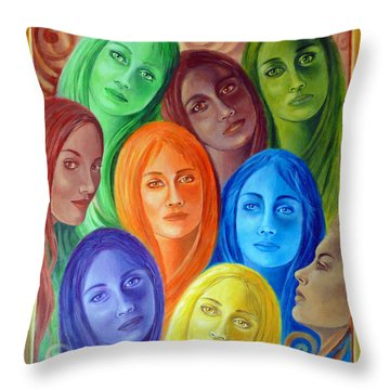 Serene Sisters Throw Pillow