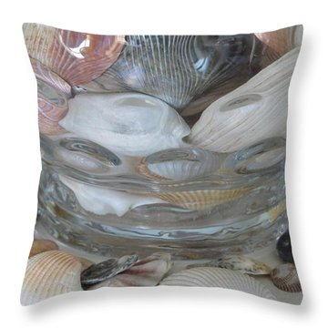 Shells In Bubble Bowl 2 Throw Pillow by Ellen Meakin