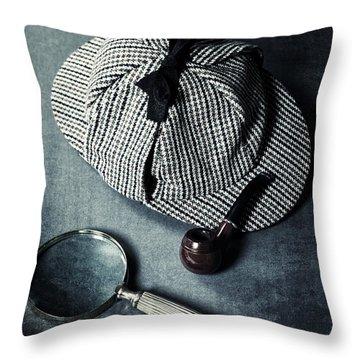 Sherlock Holmes Throw Pillow by Joana Kruse