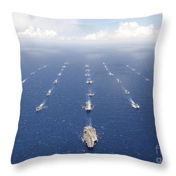 Ships And Submarines Participating Throw Pillow by Stocktrek Images