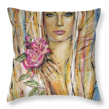 Throw Pillow featuring the painting Silence Of Roses 020209 by Selena Boron