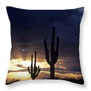Silhouetted Saguaro Cactus Sunset At Dusk Arizona State Usa Throw Pillow
