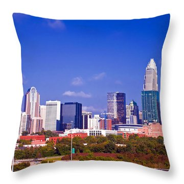 Skyline Of Uptown Charlotte North Carolina At Night Throw Pillow by Alex Grichenko