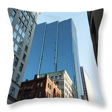 Skyscrapers In A City, Boston Throw Pillow