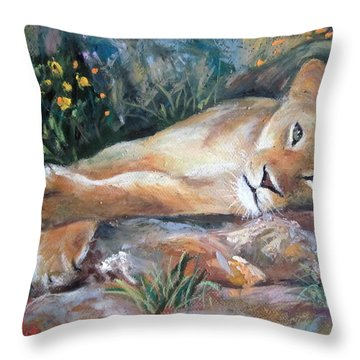 Sleep Lion Throw Pillow
