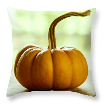 Small Orange Pumpkin Throw Pillow by Iris Richardson