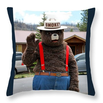 Smokey The Bear Throw Pillow by Pamela Walrath