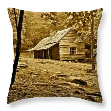 Smoky Mountain Cabin Throw Pillow by Frozen in Time Fine Art Photography